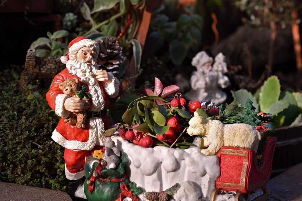 Slitta di babbo Natale per decorare il giardino